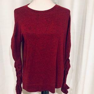 Caslan Burgundy cinched arm soft sweatshirt size S